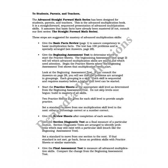 Advanced Multiplication: Straight Forward Math Series (Advanced Edition)