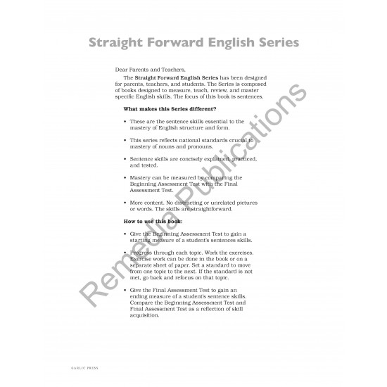 Sentences: Straight Forward English Language Arts Series