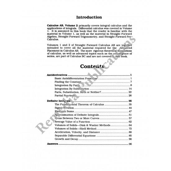 Calculus AB Volume 2: Straight Forward Math Series (Large Edition)