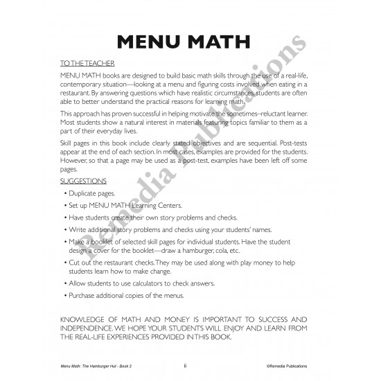 Menu Math: The Hamburger Hut (x, ÷)