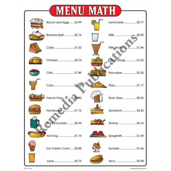 Real Life Math Series: Menu Math Level 1 (Classroom Pack)