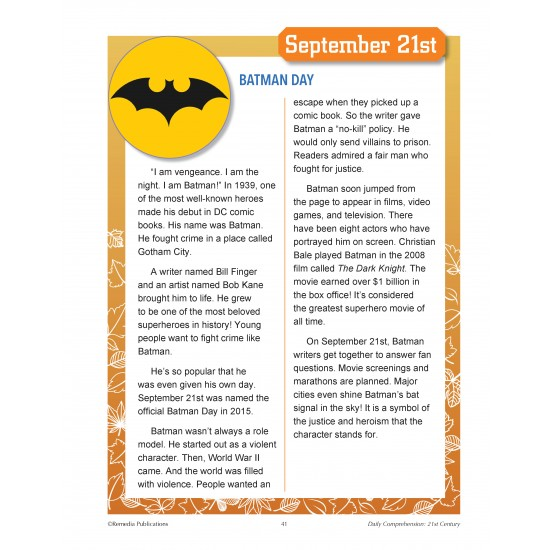 September Daily Comprehension - 21st Century