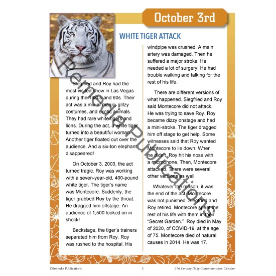 October Daily Comprehension - 21st Century