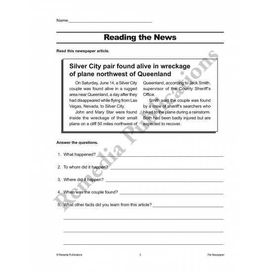 Practical Practice Reading: The Newspaper
