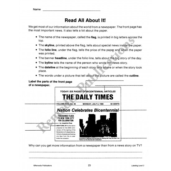 Labeling for Comprehension (Reading Level 3)