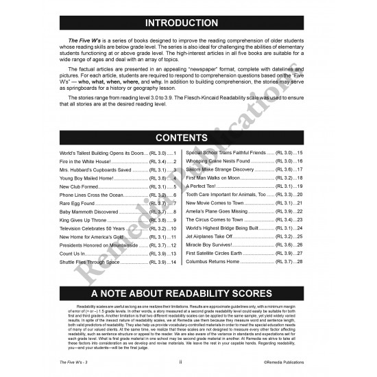 The Five W's (Reading Level 3)