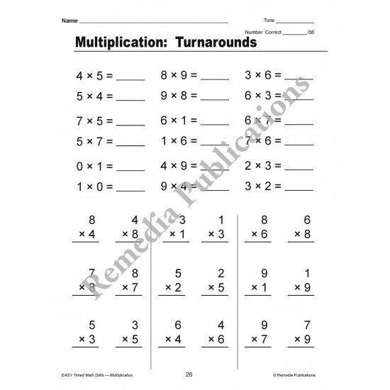 Easy Timed Math Drills: Multiplication