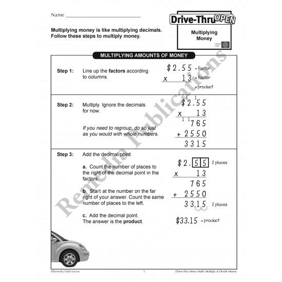 Drive-Thru Menu Math: Multiply & Divide Money