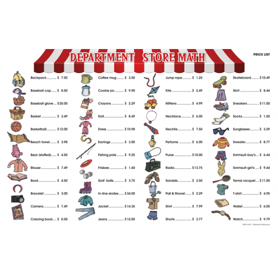 Department Store Math for Beginners (6 Extra Price Lists)