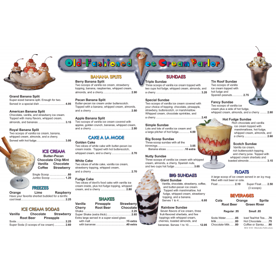Menu Math: Old-Fashioned Ice Cream Parlor (6 Extra Menus)
