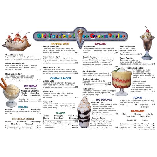 Menu Math: Old-Fashioned Ice Cream Parlor (6 Extra Menus)