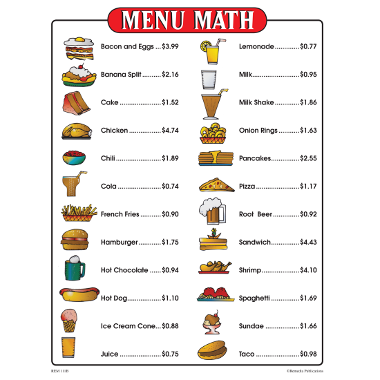 Menu Math for Beginners (6 Extra Menus)