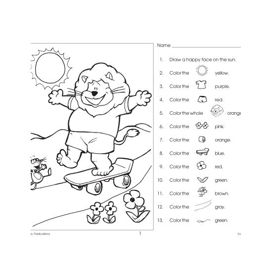 Following Directions (Grades K-1)