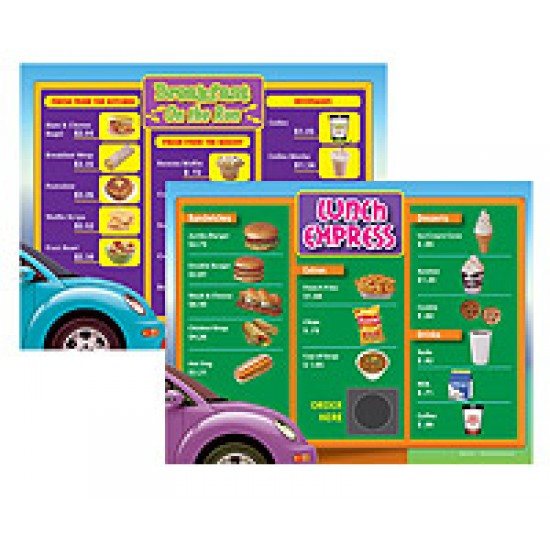 Drive-Thru Menu Math: Beginning Money Skills Menus (6-Pack)