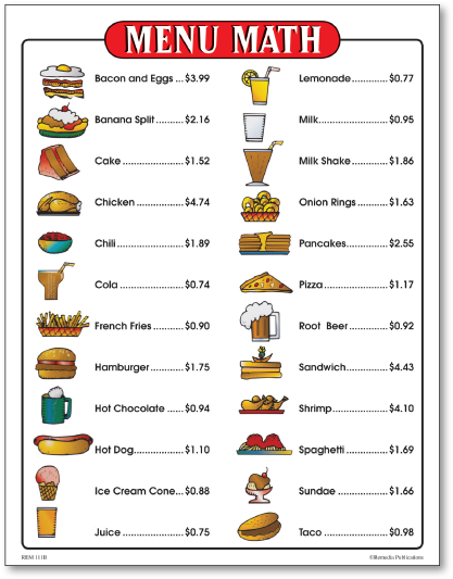 math worksheet : menu math for beginners activity book  : Free Printable Menu Math Worksheets