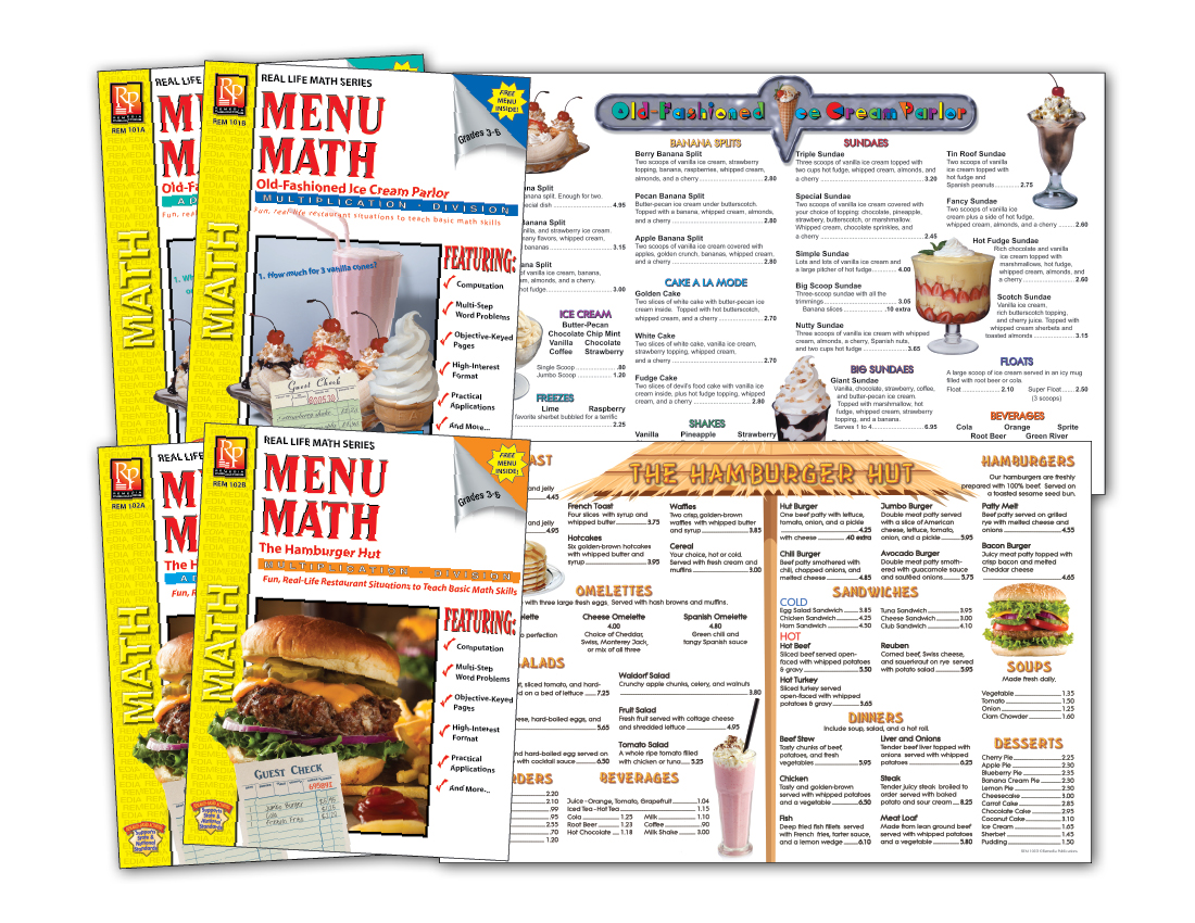 Worksheet Remedia Publications Free Worksheets menu math the hamburger hut real life series level 2 classroom pack level